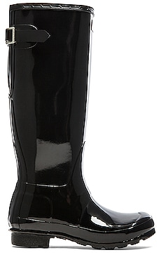 Hunter Original Back Adjustable Gloss Rain Boot in Black