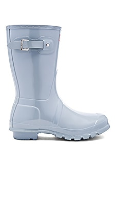 Hunter Original Short Gloss Rain Boot in Porcelain Blue