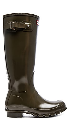Hunter Original Tall Gloss Rain Boot in Swamp Green