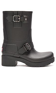 Hunter Original Rubber Biker Rain Boot in Black