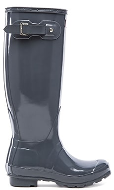 Hunter Original Gloss Rain Boot in Graphite