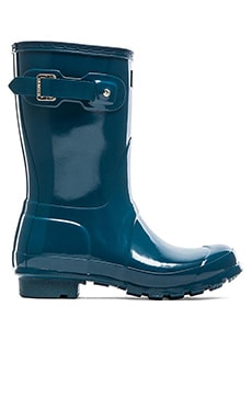 Hunter Original Short Gloss Rain Boot in Dusty Petrol
