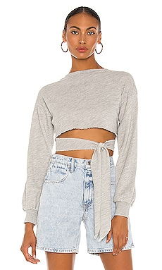 Terry Wrap Sweater in Grey h:ours $118 NEW