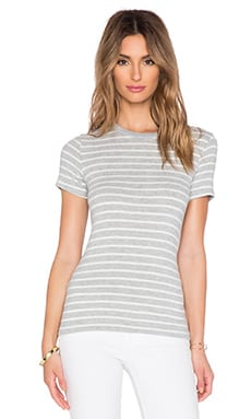 Hye Park and Lune Harper Short Sleeve Tee in Heather Grey & White