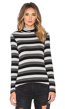 Hye Park and Lune Brooklyn Stripe Turtle Neck Top in Neutral Stripe
