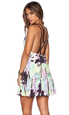 ISLA_CO Gifted Goddess Mini Dress in Palms Print
