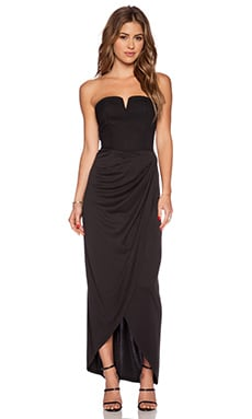 ISLA & LULU Short Cut Maxi Dress in Black
