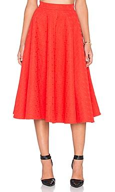 ISLA_CO Spoke Flare Skirt in Red