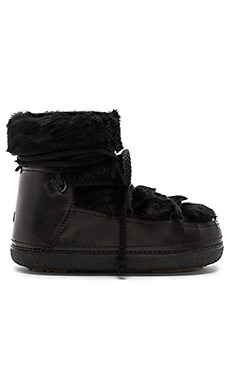 Rabbit Fur Boot with Lambskin in Black