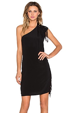 IKKS Paris Robe One Shoulder Dress in Noir
