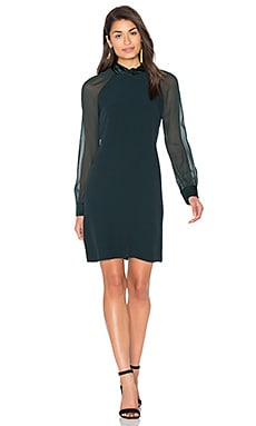 IKKS Paris Sheer Long Sleeve Shift Dress in Pine Green