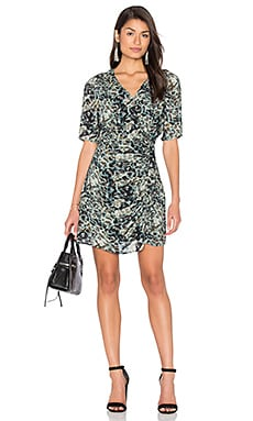 IKKS Paris Long Sleeve Jungle Print Wrap Dress in Kaki Green