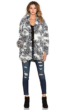 IKKS Paris Faux Fur Coat in Gris Chine