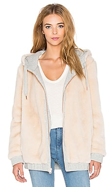 IKKS Paris Reversible Hooded Faux Fur Jacket in Gris Chine