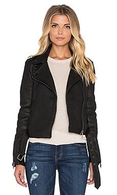 IKKS Paris Moto Leather Jacket in Noir