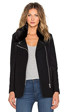 IKKS Paris Faux Fur Collar Coat in Noir