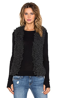 IKKS Paris Gilet Faux Fur Vest in Encre