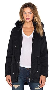 IKKS Paris Hooded Raccoon Fur Parka Jacket in Encre