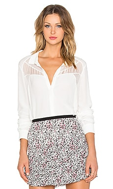 IKKS Paris Button Up Top in Blanc Casse