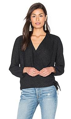 Купить Блуза с запахом и длинным рукавом - IKKS Paris, Длинный рукав, Украина, Черный