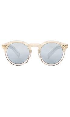 illesteva Leonard II in Cream Stripe & Silver Mirrored