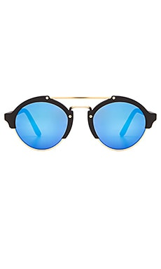 illesteva Milan II in Matte Black & Blue Mirrored