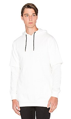 I Love Ugly Hooded Split Sweater in Off White