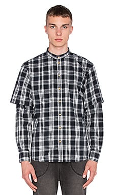 I Love Ugly Mandarin Collar Shirt in Split Black Check