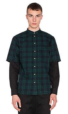 I Love Ugly Mandarin Collar Shirt in Split Green Check