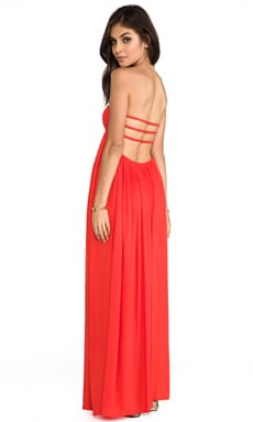 Indah Flamingo Rayon Crepe Smocked Bandeau Maxi Dress in Papaya