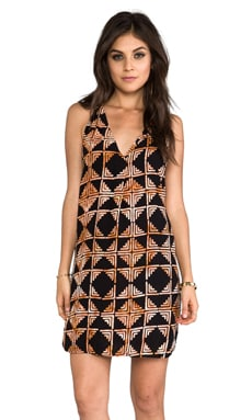 Indah Riva Deep V-neck T-back Sleeveless Mini Dress in Black Tahiti