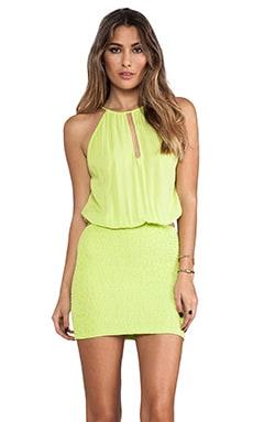 Canoa Blouson Cut Away Smocked Mini Dress