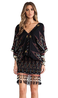 Indah Bayan Fringed Mini Dress in Black Endek