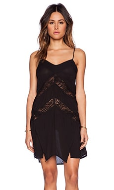 Indah Amuse Panel Lace Slip Dress in Black