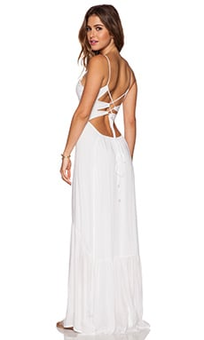 Zera Ruffle Bottom Maxi Dress in White