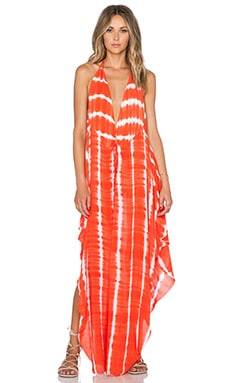 Indah Imani Halter Maxi Dress in Garis Orange