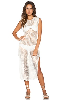 Indah Nia Crochet Panel Maxi Dress in Ivory