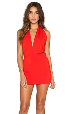 Joey Deep V Halter Dress in Red