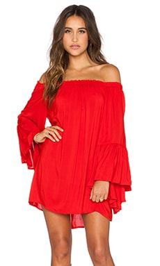 Indah Kamani Off the Shoulder Mini Dress in Red