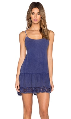Indah Karima Drop Waist Mini Dress in Blue