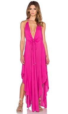 Indah Imani Solid Halter Maxi Dress in Pink