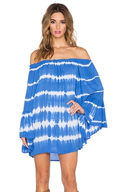 Indah Kamani Off the Shoulder Mini Dress in Garis Blue