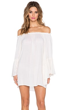 Indah Kamani Off the Shoulder Mini Dress in Ivory