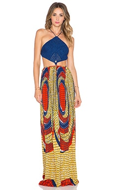 Indah Revel Crochet Maxi Dress in Shield