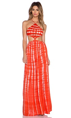 Indah Revel Crochet Halter Maxi Dress in Garis Orange