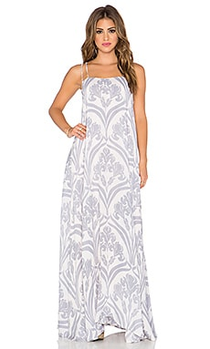 Indah Shale Printed Minimal Maxi Dress in Venice Rain