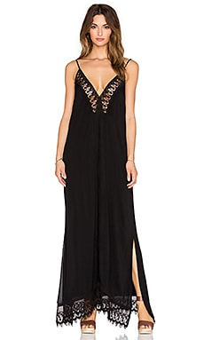 Indah Magnolia Lace & Pleat Lined Maxi Dress in Black