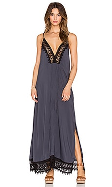 Indah Magnolia Lace & Pleat Lined Maxi Dress in Slate