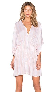 Indah Zion Printed Pleat & Button Mini Dress in Blush Snake