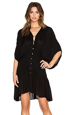 Indah Zion Pleat & Button Mini Dress in Black